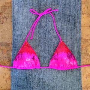 New Victoria's Secret Sequin Pink Bikini Top